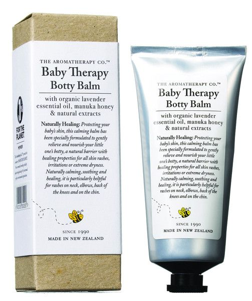 With a blend of lavender, essential oils and manuka honey, The Aromatherapy Company Therapy Baby Botty Balm protects and nourishes baby's skin.  This soothing balm creates a natural barrier which can help prevent skin rashes, irritations or extreme dryness.  Naturally calm and soothing, it can also be used for rashes on neck, elbows, back of knees and on the chin.  75ml.  Made in New Zealand.  Contains natural active ingredients.  No animal testing.
