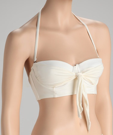 Take a look at this Cream Knot-Front Bandeau Bikini Top by Beach Rays on #zulily today!