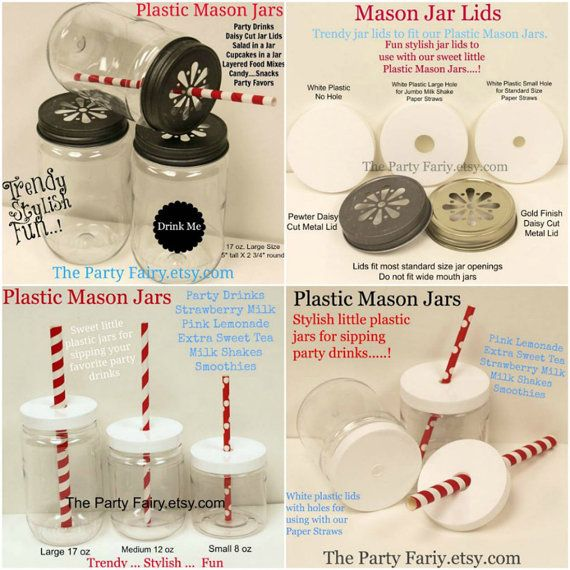 PLASTIC Mason JARS 25 Unbreakable Jars with FREE by ThePartyFairy