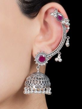 Paisley Silver Jhumkis by 925 Silver Jewelry