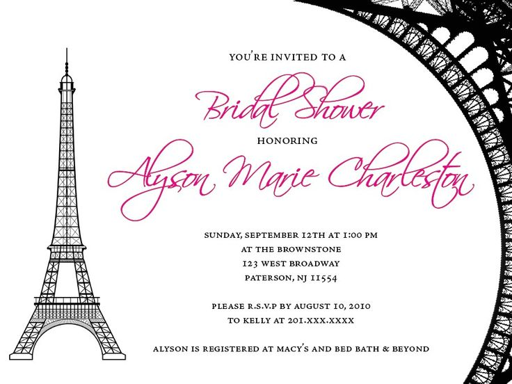 41 best french themed bridal shower images on pinterest for Paris themed invitations bridal shower