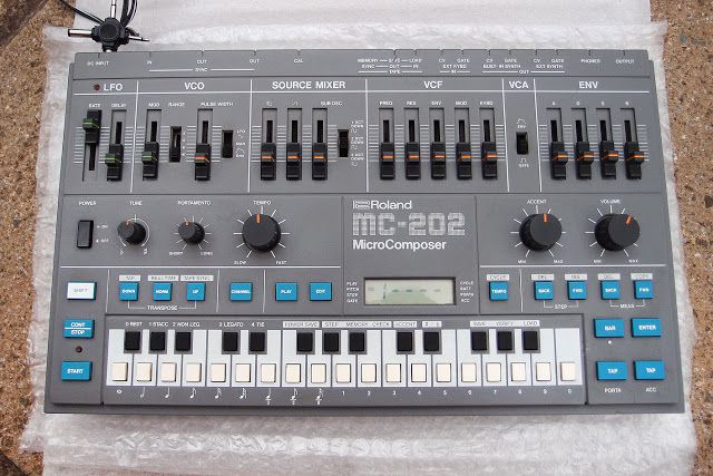 Roland MC-202 Microcomposer — Used by Autechre, Future Sound Of London, Coldcut, The Human League, Underworld, Aphex Twin, LFO, Jedi Knights, Plastikman, Astral Projection, Sabres Of Paradise, Freddy Fresh, Jimmy Edgar, ProtoType 909 and Taylor 808.