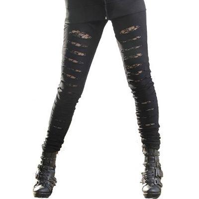 Slasher ripper gescheurde legging met kant zwart - Gothic Glamrock Metal