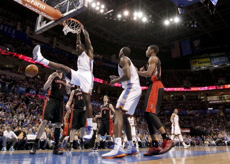 Oklahoma City's Kendrick Perkins (5) dunks that ball during the NBA basketball game between the Oklahoma City Thunder and the Toronto Raptors at Chesapeake Energy Arena in Oklahoma City, Sunday, April 8, 2012. Photo by Sarah Phipps, The Oklahoman.
