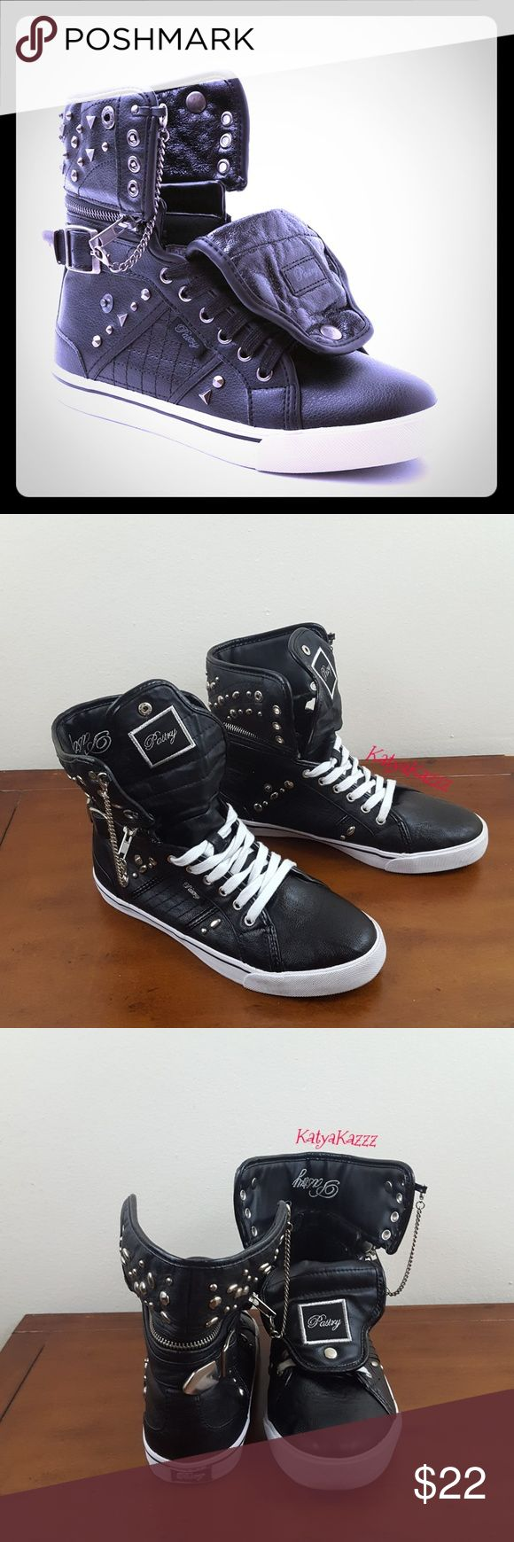 ♥️PASTRY♥️SNEAKERS♥️ Very comfortable pair of PASTRY dancing sneakers. They can be worn as high tops as shown on the pics. Look great with skinny jeans... gently loved and taken care of. Normal signs of wear♥️ Size 7.5 Pastry Shoes Sneakers