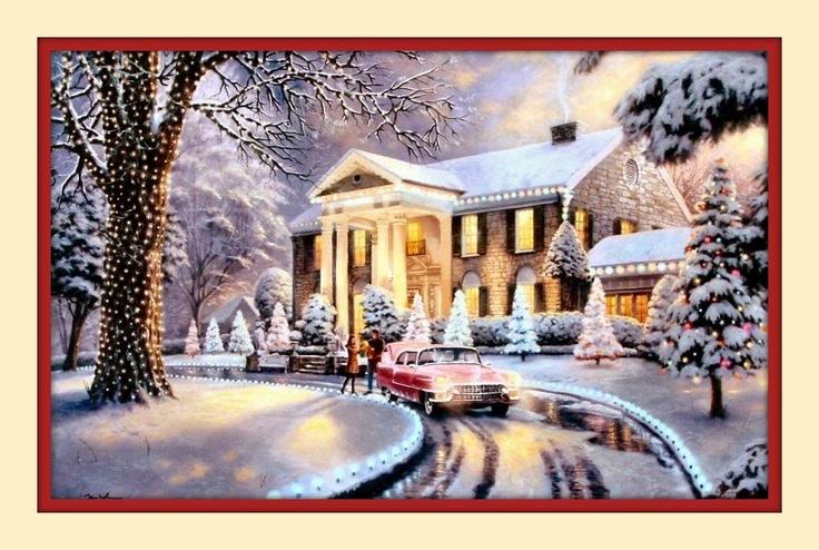 elvis presley graceland christmas Thomas kinkade