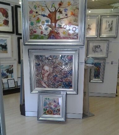 Kerry's work hanging in our gallery and looking amazing