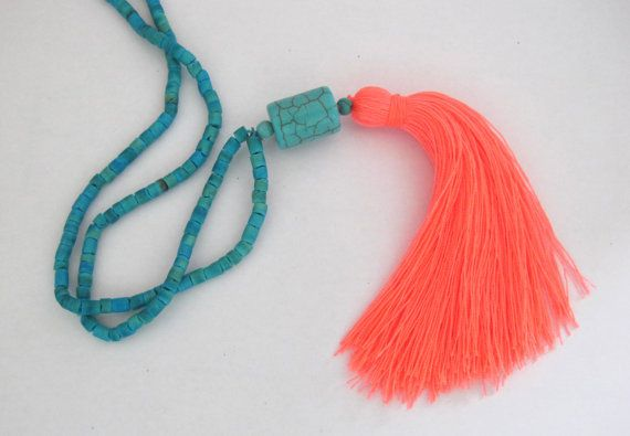 Long Tassel Necklace Aqua Beaded Ladies Statement by ljcdesignss  Apricot