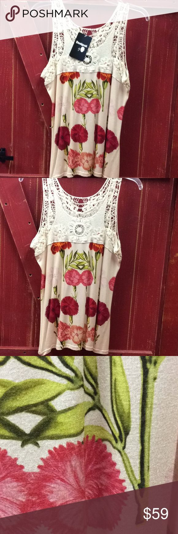 Desigual floral tank or cami A perfect spring and summer romantic piece from Spain. Yes you will feel like a lady and get many compliments. Looks outstanding with a skirt. 67 viscose 30 cotton 3 elastane This is a large. 17 in laying flat from arm to arm 25 in long Desigual runs smalll, Desigual Tops Camisoles