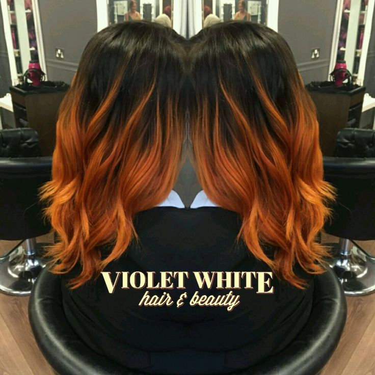 Black Into Fiery Copper Orange Ginger Tousled Shiny Hair Colourmelt Colour Color Curly