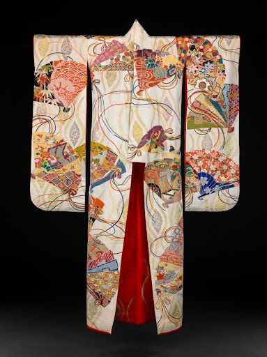 Front, Kimono: Furisode with hi-ogi (Heian Imperial fans) - Unknown — Google Arts & Culture