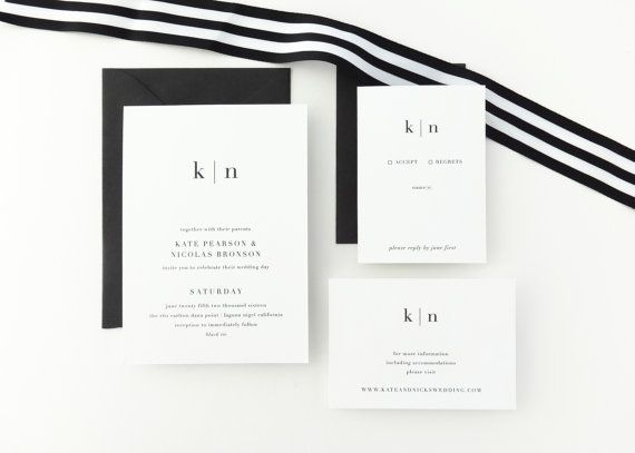 PAPER SAMPLE Kate Simple Wedding Invitation / Save the Date / Black White Wedding / Letterpress Wedding Invitation / Modern Invitation