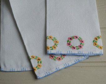 Huckaback Embroidered Finger Tip Towels.