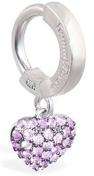 Tummy Toys 14K White Gold Pink Sapphire Heart Belly Ring - Solid 14k White Gold Belly Ring with Pink Sapphires