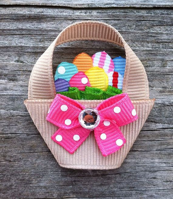 Easter Basket with Eggs Ribbon Sculpture Hair Clip - Toddler Hair Bows - Girls Hair Accessories... Free Shipping Promo