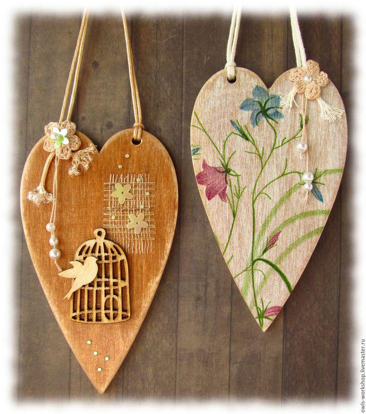 Купить интерьерные подвески декоративные сердечки парные Соловей и роза - интерьерная подвеска, декоративная подвеска
