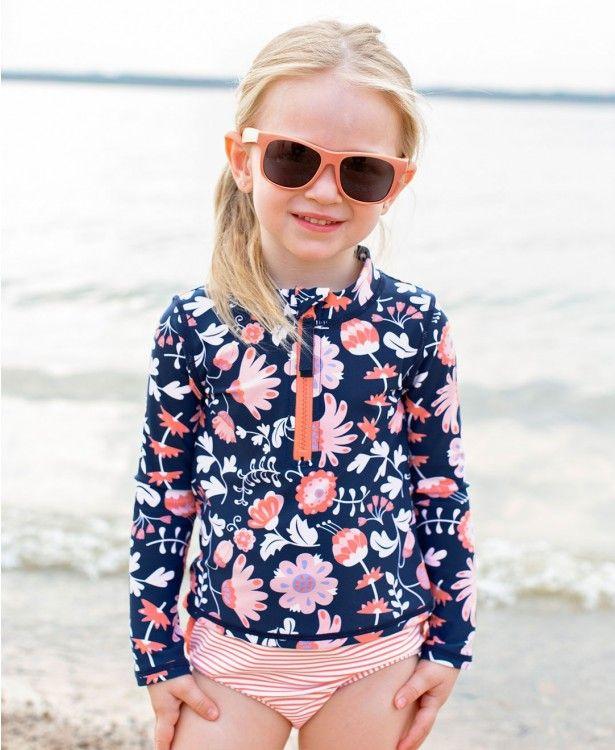 5957fbb379 Botanical Beach Long Sleeve Zipper Rash Guard Bikini - RuffleButts.com Little  Girl Swimsuits,