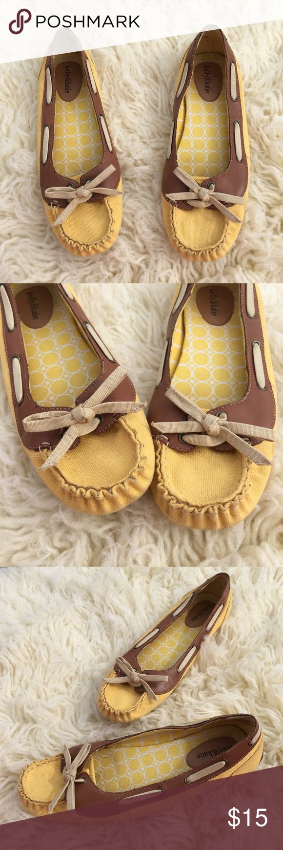 Spring yellow and tan loafers Adorable Springtime canvas loafers- yellow and tan. Good/great condition. Hardly worn. Kelly & Katie Shoes Flats & Loafers