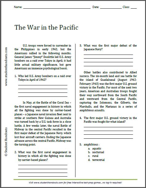 Worksheets High School Reading Comprehension Worksheets Pdf 1000 images about high school printables on pinterest the war in pacific reading worksheet free to print pdf file