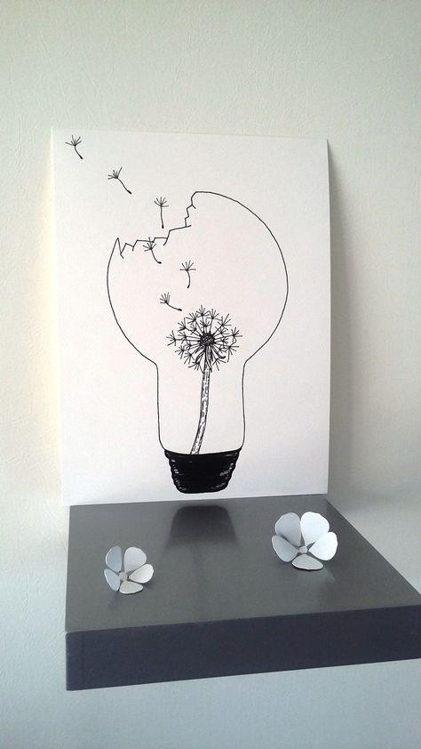"""Affiche Illustration Noir et blanc ampoule """"pissenlit """" : Affiches, illustrations, posters par stefe-reve-en-feutrine"""