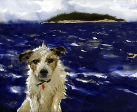 Jamie Wyeth ...This looks just like my old Jack Russell, Fletch.