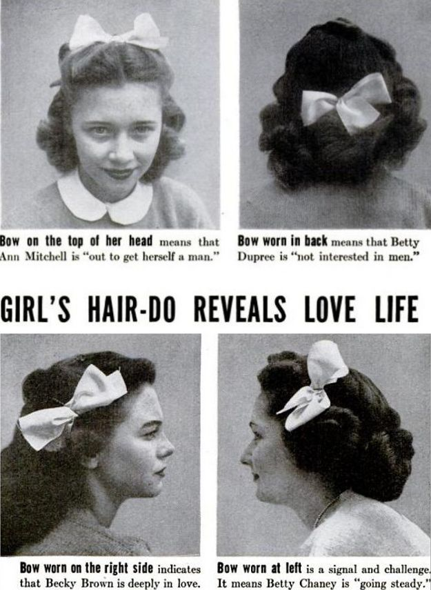 """The following images appeared in the March 15, 1944 issue of Life as part of a piece entitled """"High School Fads."""""""