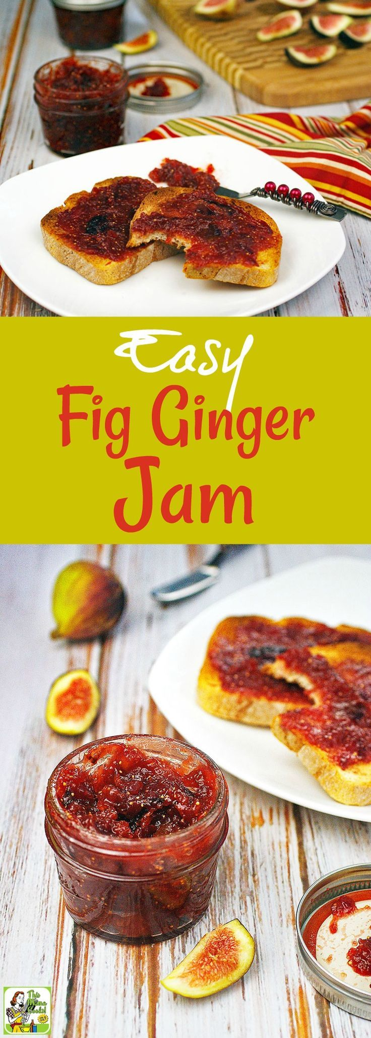 How to make an Easy Fig Ginger Jam recipe. This easy fresh fig jam recipe uses no pectin and can be kept in the refrigerator for up to two weeks. This healthy fig jam recipe uses monk fruit powder to make it a reduced sugar recipe. #recipes #healthy #jam