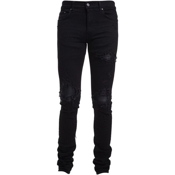 Amiri mx1 Classic Destroyed Jeans (1,310 CAD) ❤ liked on Polyvore featuring men's fashion, men's clothing, men's jeans, black, mens leather jeans, mens destroyed jeans, mens ripped jeans, mens torn jeans and mens distressed jeans