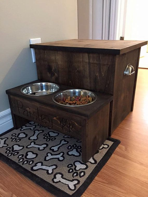 raised dog bowl feeder with food storage by