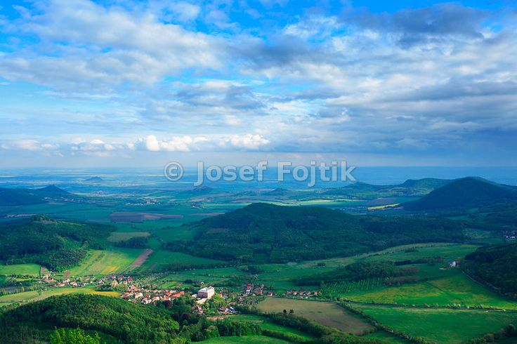 View from the Milešovka Mountain to the south, Ceske stredohori Mountains, Czech Republic.
