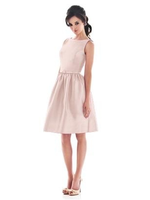 Simple, 50s inspired bridesmaid dresses in   Pearl Pink.