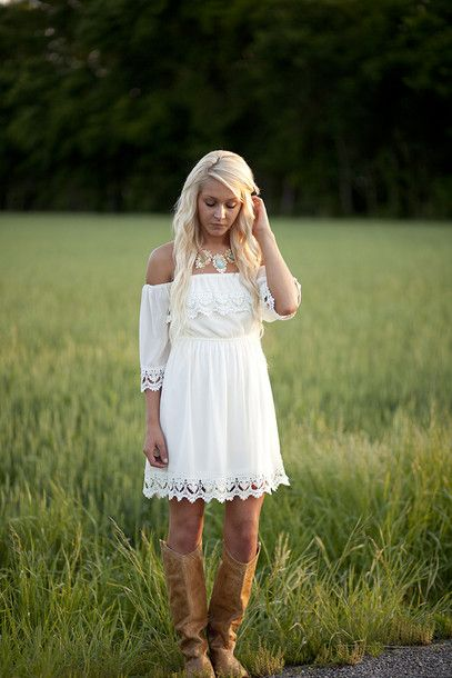 dress white lace southern trendy vintage off the shoulder country boots