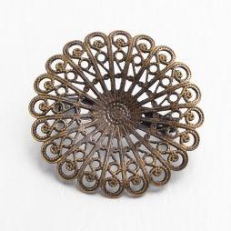 Baza brosa metalica, floare filigranata, bronz antic, 37 mm, 1 buc.#1