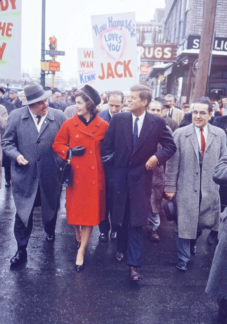 "kennedys-obsession: "" ""John F. Kennedy and wife Jackie campaigning in 1960. "" """