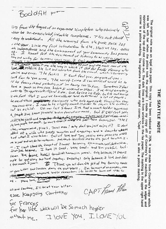 """Hace 19 años que Kurt Cobain tomó la decisión de quitarse la vida... ésta carta fue lo último que escribió: Soy una criatura voluble y lunática. """"Se me ha acabado la pasión. Y recordad que es mejor quemarse que apagarse lentamente. """""""