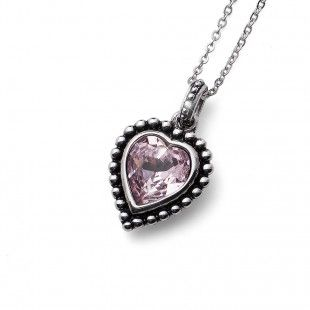 Oliver Weber Women lovely pink pendant necklace antique heart with Swarovski Crystals