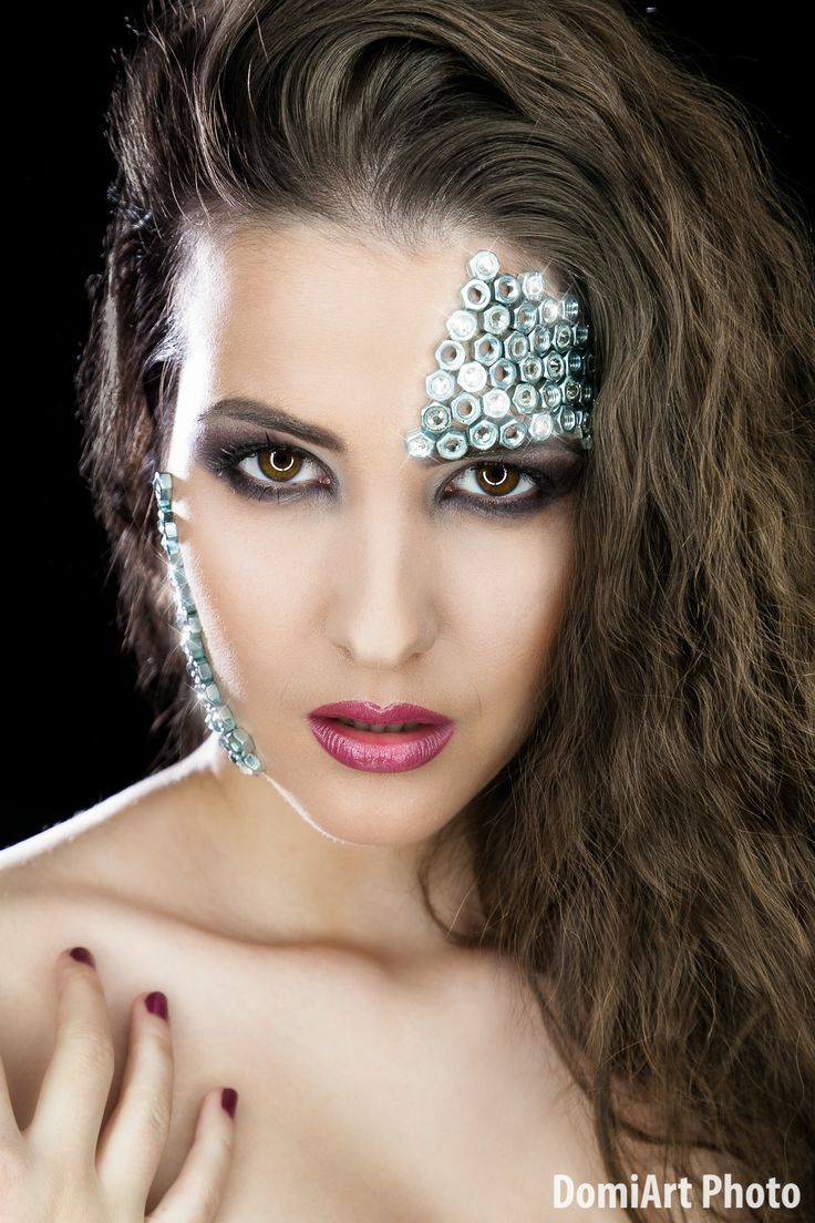 Metal nuts, strass, beauty theme - metal extreme make up
