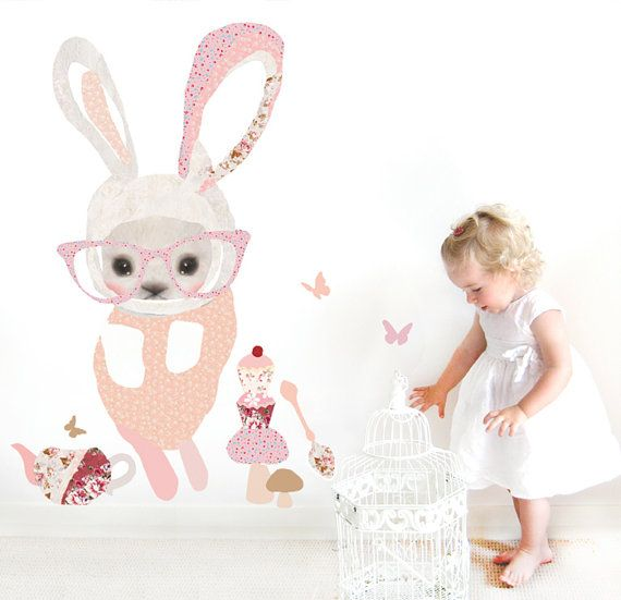 Girls Fabric Decal Wall Stickers - Bunny with Glasses on Etsy, $86.93 CAD