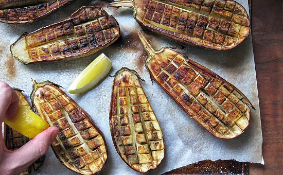 Cutting a crosshatch pattern into eggplant halves results in eggplant that is both soft and crisp   TASTE