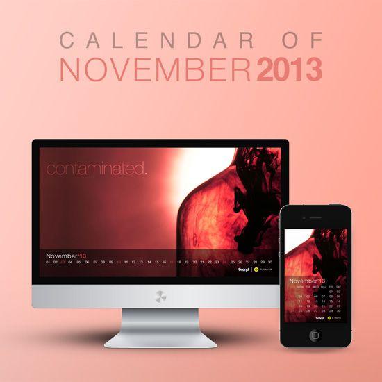 Contaminated. Wallpaper calendar of November 2013 from iBrandStudio