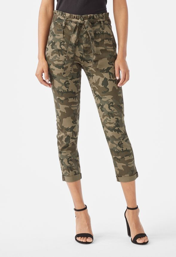 b132d88461 High Rise Paperbag Cropped Jeans in camo print - Get great deals at JustFab