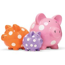 Polka Dot Piggy Banks  Squeal Appeal