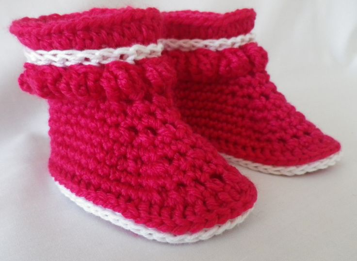 Bobble Booties for Baby's Feet in Fuchsia by Exporium on Etsy