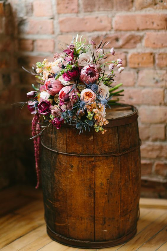 Lush Wedding Bouquet in burgundy with accents of pink