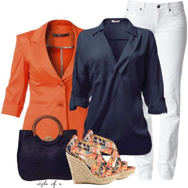 edf9792b3ea Navy and Orange Polyvore Fashion Outfits Fashion dresses