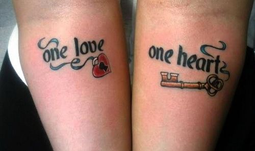 Love Lock Key Couple Tattoo Designs ~ http://tattooeve.com/the-beautiful-tattoos-for-you-and-your-couples/ Tattoo Ideas