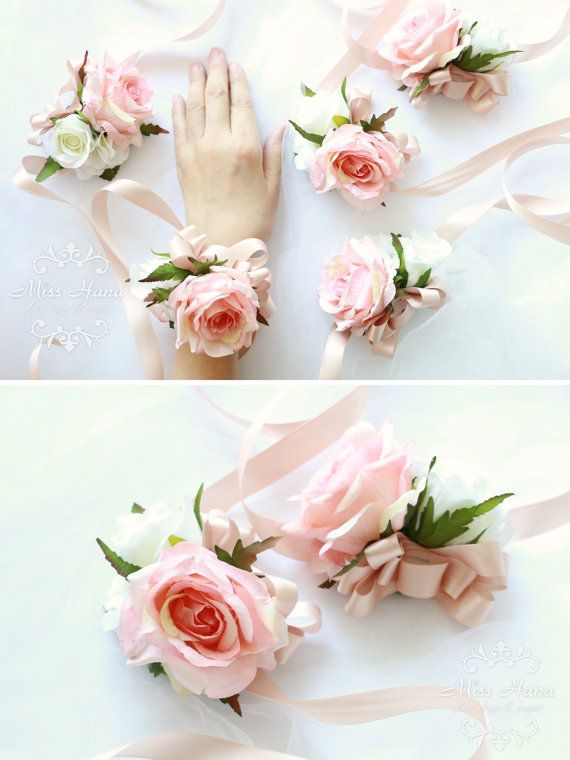 Blush Pink Rose Wrist Corsage Bridesmaid By Misshanafldesign