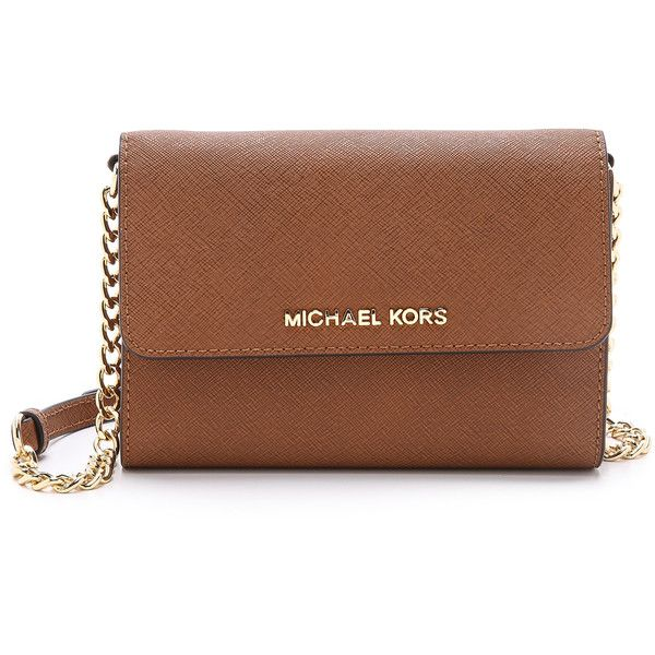 MICHAEL Michael Kors Jet Set Large Phone Cross Body Bag ($155) ❤ liked on Polyvore featuring bags, handbags, shoulder bags, luggage, leather crossbody handbags, leather crossbody, leather crossbody purse, leather shoulder handbags and brown crossbody purse