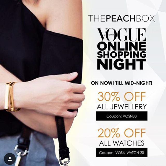 """Less than 1 hour to go before Vogue Sale finishes! Last chance to head to our website to pick up Jewellery for 30% Off and Watches for 20% Off!! Use coupon codes """"VOSN30"""" and """"VOSN-WATCH-20"""" at checkout! @thepeachbox @vogue #thepeachbox #vosn #vogue"""