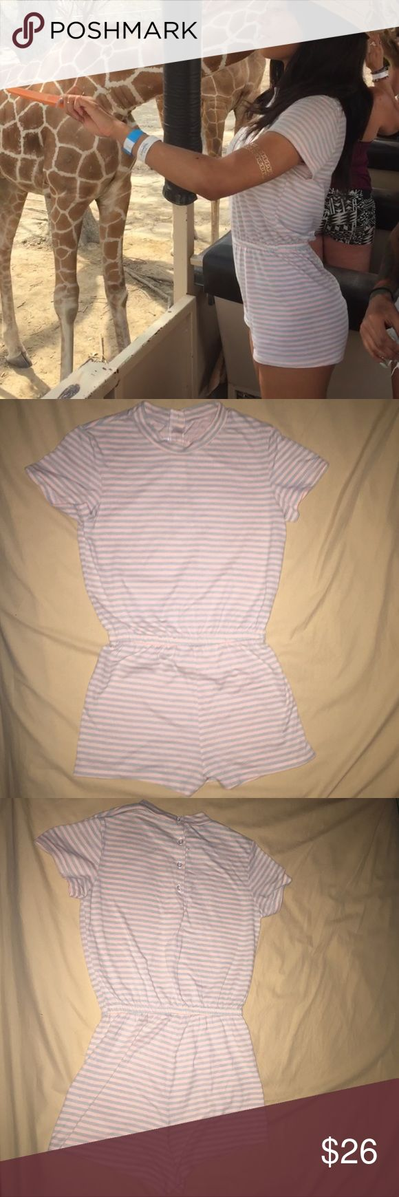 American Apparel T-Shirt Romper Striped, lightweight romper. Worn once. Perfect condition. American Apparel Shorts